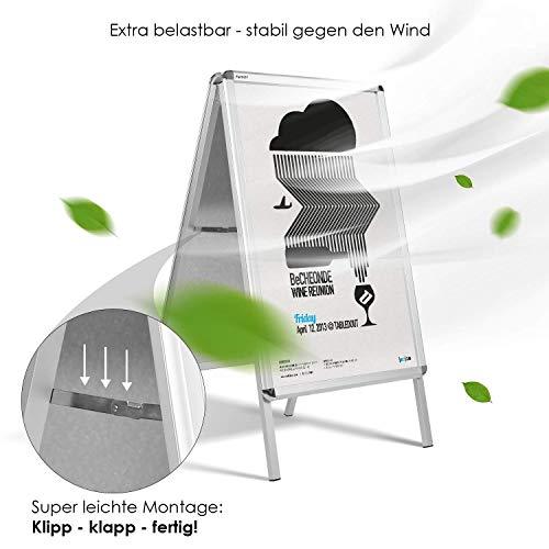 Femor Plakatständer beiseitiger Kundenstopper Aufsteller Gehwegaufsteller Werbetafel DIN A1/A2 mit Alu-Rahmen, VERBESSERTES MODELL! (DIN A2)