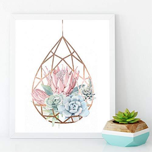 adgkitb canvas Sukkulenten Terrarium Rose Und Print Pastell Sukkulenten Wandkunst Leinwand Malerei Kakteen Protea Bild Home Decor 50x70 cm KEIN Rahmen
