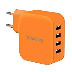 Lumsing® Caricatore Alimentazione 4 Porte 35W 7A USB universale Caricabatterie da Parete Muro per iPhone Samsung HTC iPad Nexus usw Arancione