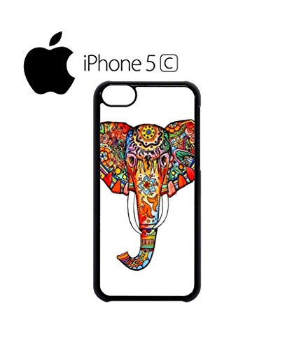 Elephant Ethnic Drawing Colourful Girl Mobile Cell Phone Case Cover iPhone 5c Black Schwarz