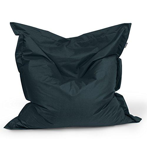 Sitzsack Sitzkissen Bean Bag Rechteck BuBiBag Größe 160 x 145 cm Indoor und Outdoor (schwarz)