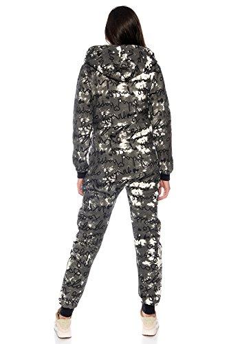 Crazy Age Jumpsuit Overall mit Schrift-Design Kuschelig und warm Anthrazit