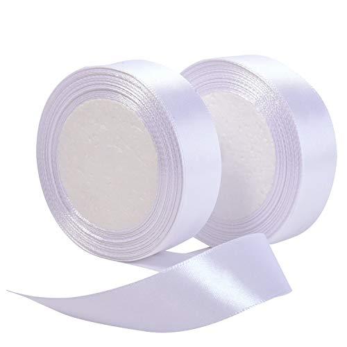 LANGING Dekoband für Bastelarbeiten, 2 Stück, Weiß, 15 m x 2,5 cm -