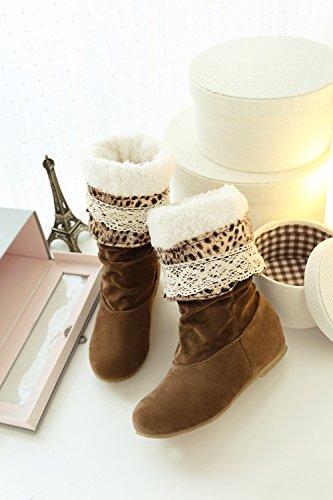 große Größe 34,5-41,5 Herbst Winter elegante flache Schuhe Mode Herde kniehohe Stiefel beiläufige Schuhe der Frauen Prinzessin süße Schneeschuhe gelb Verdickung