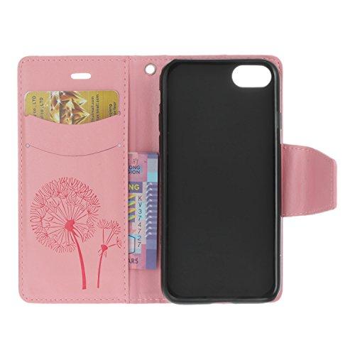 Voguecase® Pour Apple iPhone 7 4,7 Coque, Étui en cuir synthétique chic avec fonction support pratique pour Apple iPhone 7 4,7 (Papillons VIII-diamant-Gris)de Gratuit stylet l'écran aléatoire universe Pissenlit-diamant-Pink