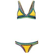 Paplan Mujeres neopreno hecho a mano del ganchillo del bikini Conjunto sujetador traje de baño