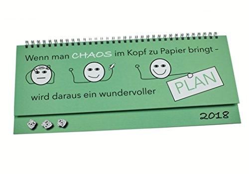 """Tischquerkalender 2018 im hochwertigen Hardcover-Buchdeckeneinband, mit lustigem Motivspruch \""""Chaos\"""", Tischkalender im Quer-Format 2018, 1 Woche auf 2 Seiten, Sonn- und Feiertage in Rot"""