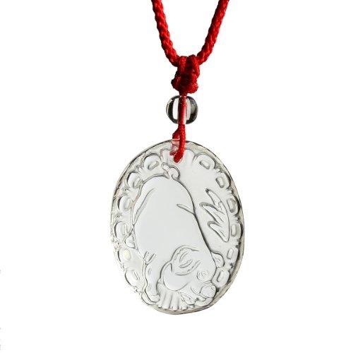 O-stone 3A Collana con Ciondolo di Quarzo di cristallo della forma Porcellino di Zodiaco Cinese ( degli anni di nascita 1983,1995,2007 e gli altri anni di 12 anni di piu' e di meno ) uso Amuleto - 2007 Di Cristallo