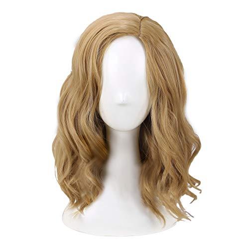 Wellgift Captain Marvel Perücke Cosplay Kostüm Carol Danvers Erwachsene Damen Kurze Lockige Blonde Haare Halloween Fancy Dress Merchandise Zubehör