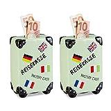 2 x Spardose Urlaub, Koffer, mit Flaggen, Urlaubskasse, Reisekasse, Sparbüchse, Sparbox, HxBxT: 14,5 x 9,5 x 5 cm, Creme