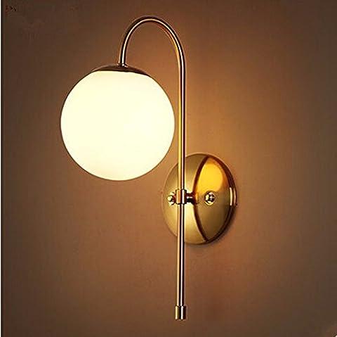 ZhZhCo Post moderne mur LED Light Vintage concis nordique Bille de verre Appliques luminaires pour l'éclairage à la maison Simple Bar Café Salon