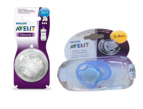 Philips Avent Natural Teat 3 Holes Medium Flow - 3 Months+ (2Pc. Pack) With Philips Avent Soother Fast Flow - 0 To 6 Months (Color May Vary)