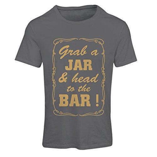 lepni.me N4524F Camiseta Mujer Grab a Jar and & Head to The Bar! (Small Grafito Oro)