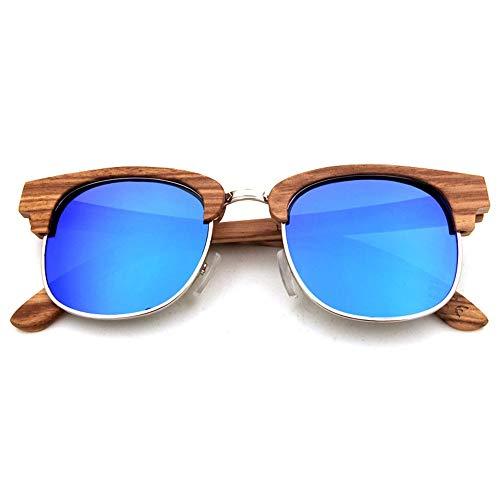 Herren Sonnenbrillen High-End-Casual Bambus-Brille, Metall polarisierte Sonnenbrille für Frauen Männer Frauen DIY (Farbe : Wood Frame -Blue)