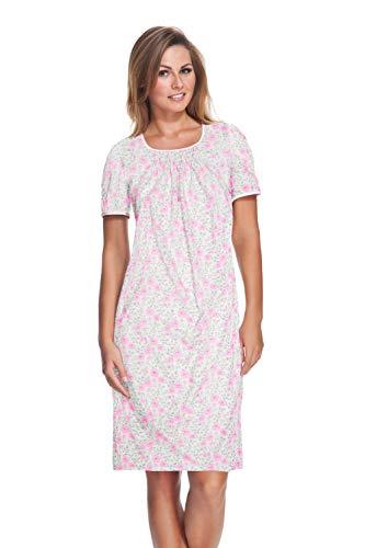 Sleepshirt Aus Reiner Baumwolle (e.FEMME Damen Nachthemd Celine 804 aus Reiner Baumwolle in der Farbe Rose in Größe 40)