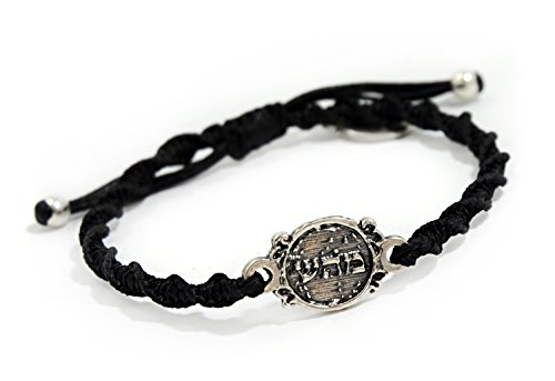 7b3af8ba2342 Mizze Made For Luck Jewelry Health 72 Names Woven Black Charm Bracelet For  Men