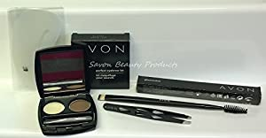 Avon Perfect Eyebrow 5 Piece Kit in Brown ~ Pro-Look Brows includes Stencils, Duo Brush, Perfect Eyebrow Kit. Brow Definer and Slanted Tweezers