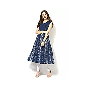 AnjuShree Choice Women Stitched Blue Cotton Anarkali Kurti Kurta