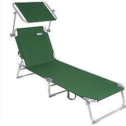 Casaria - 1x Chaise Longue Pliable Ibiza - Dossier réglable 4 Positions - Pare-Soleil intégré - Compacte et transportable - Toile imperméable - Couleur Verte