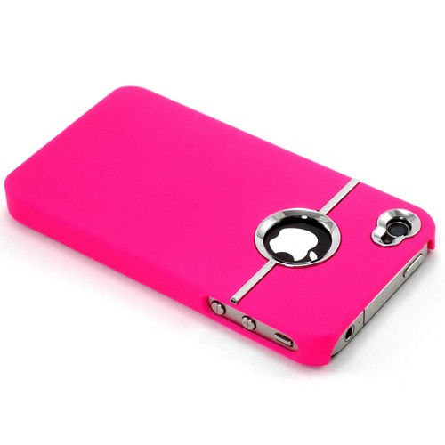 Gioiabazar Deluxe W/Chrome Rubberized Snapon Hard Back Cover Case For Iphone 4 4S Hot Pink GB10140
