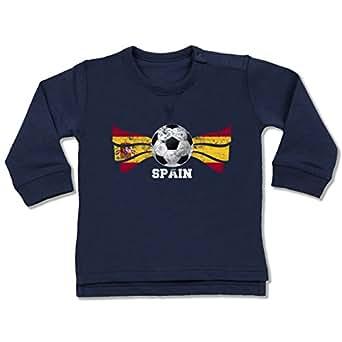 BZ31 Baby Jungen Mädchen Sweatshirt Pullover – EM 2016 Frankreich Babys – Spain Fußball Grunge