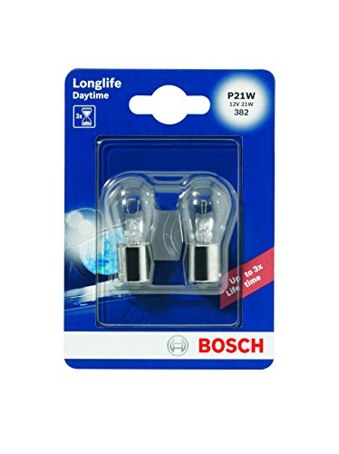 Bosch 1987301050 Autolampe P21W LONGLIFE - Stopp-/Blinklicht-/Schluss-/Kennzeichenlampe (Birne Stand)
