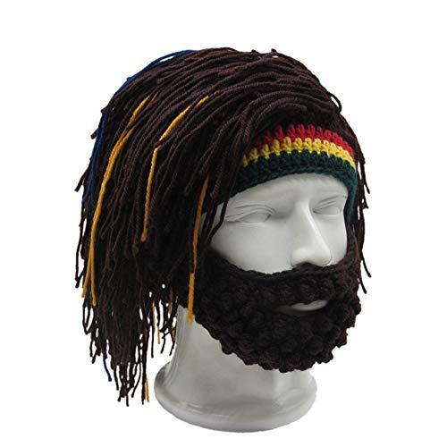 Yvonnelee Damen Herren Mütze Bartmütze Lustige Strickmütze mit Haare für Skilaufen Karneval Halloween Cosplay Party 1047