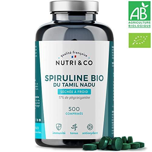 Spiruline Bio AB | 500 Comprimés de 500 mg Purs sans Excipient | 15 à 19% de Phycocyanine | Poudre Séchée et Compressée à Froid | Analysée et Conditionnée en France par Nutri&Co ®