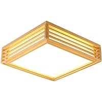 Iluminación de techo Iluminación de techo de interior LED 12w Cuadrado Plafón Dormitorio Moderno Montaje empotrado Regulable Control remoto Lámpara de techo Con Base de madera Para Comedor-Dimming sin escalonamiento 40X40X10cm