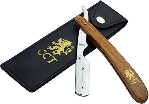 Das Cambridge Cut ThroatTM Barbier-Rasiermesser zum Einklappen, Set mit Reisetasche und Tasche aus natürlicher Baumwolle, Geschenke für Männer, Pflegegeschenk