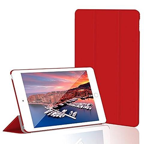 iPad Mini 4 Hülle, JETech Ultra Slim iPad Mini 4 Hülle Schutzhülle Etui Tasche mit Eingebautem Magnet für Einschlaf/Aufwach für Apple New iPad Mini 4 Veröffentlicht am 2015 Smart Case Cover (Rot)
