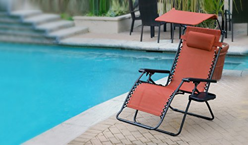 Jeco Oversized Olefin Zero Gravity Chair with with Sunshade and Drink Tray, Terra Cotta