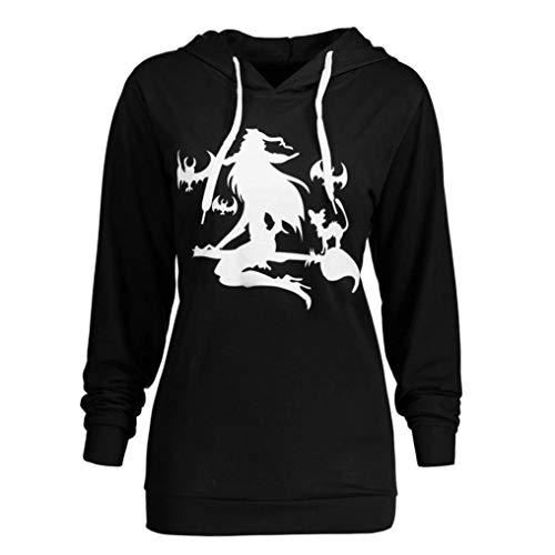 SHOBDW Damen Herbst Winter Mode Halloween Festliche Atmosphäre Shirts Frauen Langarm Plus Größe Halloween Hexe Solid Drucken Hoodie Sweatshirt Bluse Tops