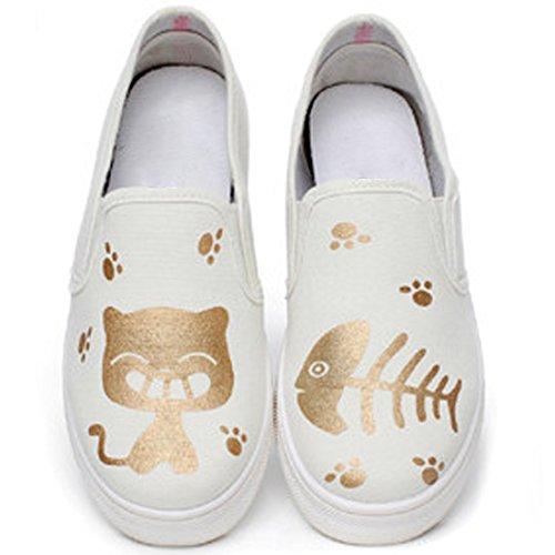 Oasap Women's Cartoon Animal Printing Round Toe Sneakers Black&white