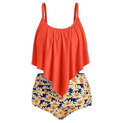 c840c95cc81 Swimsuits for Women Plus Size High Waisted Ruffle Print Two Pieces Bikini  Set