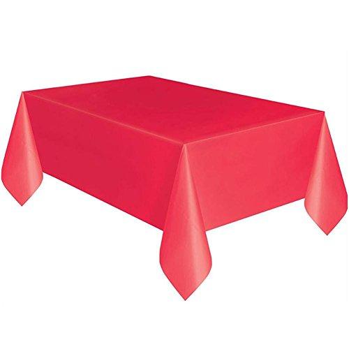 Yunhigh Nappes en Plastique Les Tables rectangulaires jetables imperméables Couleur Nappe de Protecteur de Couverture de Table en Tissu la fête d'anniversaire - 4 Pack, Roug