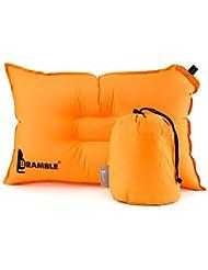 Bramble Almohada Auto inflable de un Material Suave, Fiesta, Camping, Acampar, Senderismo. La mejor Almohada para Viajes - naranja