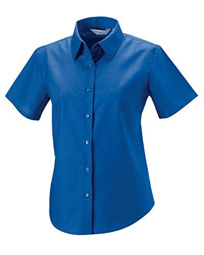 Russell Collection Femmes' Manche Courte Entretien Facile Chemise Oxford[933F] Bleu Aztèque