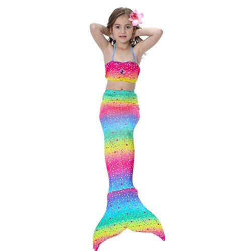 Starjerny 3PS Mädchen Meerjungfrauen Bikini Set Schwimmanzug Badeanzüge Bademode Prinzessin Kostüm Meerjungfrauenschwanz für Schwimmen Kinder 5-14 Jahre Farbewahl (110cm (5-6 Jahre), Regenbogen 2)