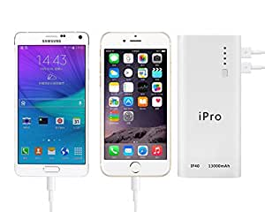 iPro IP40 13000mAH Portable Power Bank for Smartphones and Tablets (White)