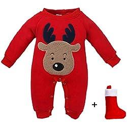 QUICKLYLY Navidad Peleles Pijamas Conjunto Bebé Niño Niña Recién Infantil Elk Largo Manga Mono Ropa (0~6 Meses(70), Rojo)