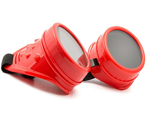 WELDING CYBER GOGGLES Schutzbrille Schweißen Goth Cosplay STEAMPUNK ANTIQUE VICTORIAN MFAZ Morefaz Ltd (Red)