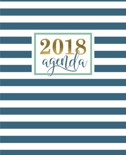 Agenda: 2018 Agenda semana vista español : 190 x 235 mm, 160 g/m² : Moderno estampado de rayas geométricas en verde azulado: Volume 14 (Calendarios, agendas y organizadores personales)