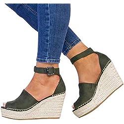 Sandalias de Mujer Plataforma,JiaMeng Moda Polaco Dull Costura Peep Toe Cuñas Hasp Sandalias Zapatos Flatform Sandalias Mujer Cuña Alpargatas Plataforma