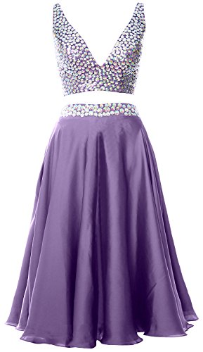 MACloth Women 2 Piece Short Prom Dress 2017 Straps V Neck Cocktail Formal Gown Lavande