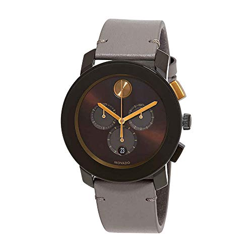 Movado Men's Bold 44mm Brown Leather Band Steel Case Quartz Watch 3600445