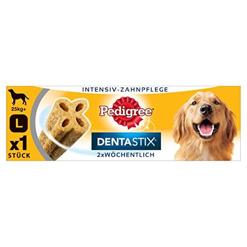 Pedigree DentaStix Advance 2x Wöchentlich Hundeleckerli für große Hunde +25kg, Kausnack mit Huhn- und Rindgeschmack gegen Zahnsteinbildung, 1 Stück (1 x 120g) -