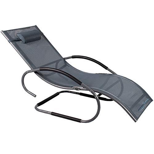 Meerweh Luxus XXL Aluminium Schwingliege Swingliege Gartenliege Sonnenliege anthrazit