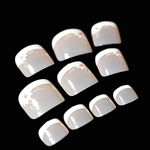 EchiQ (24 pcs) Uñas postizas de color blanco con detalle de flor