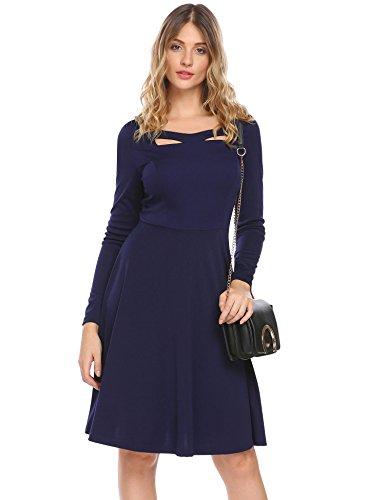 Damen Winter Herbst Langarm Vintage Kleid Cocktailkleid mit Kreuz Ausschnitt im Empire Stil...